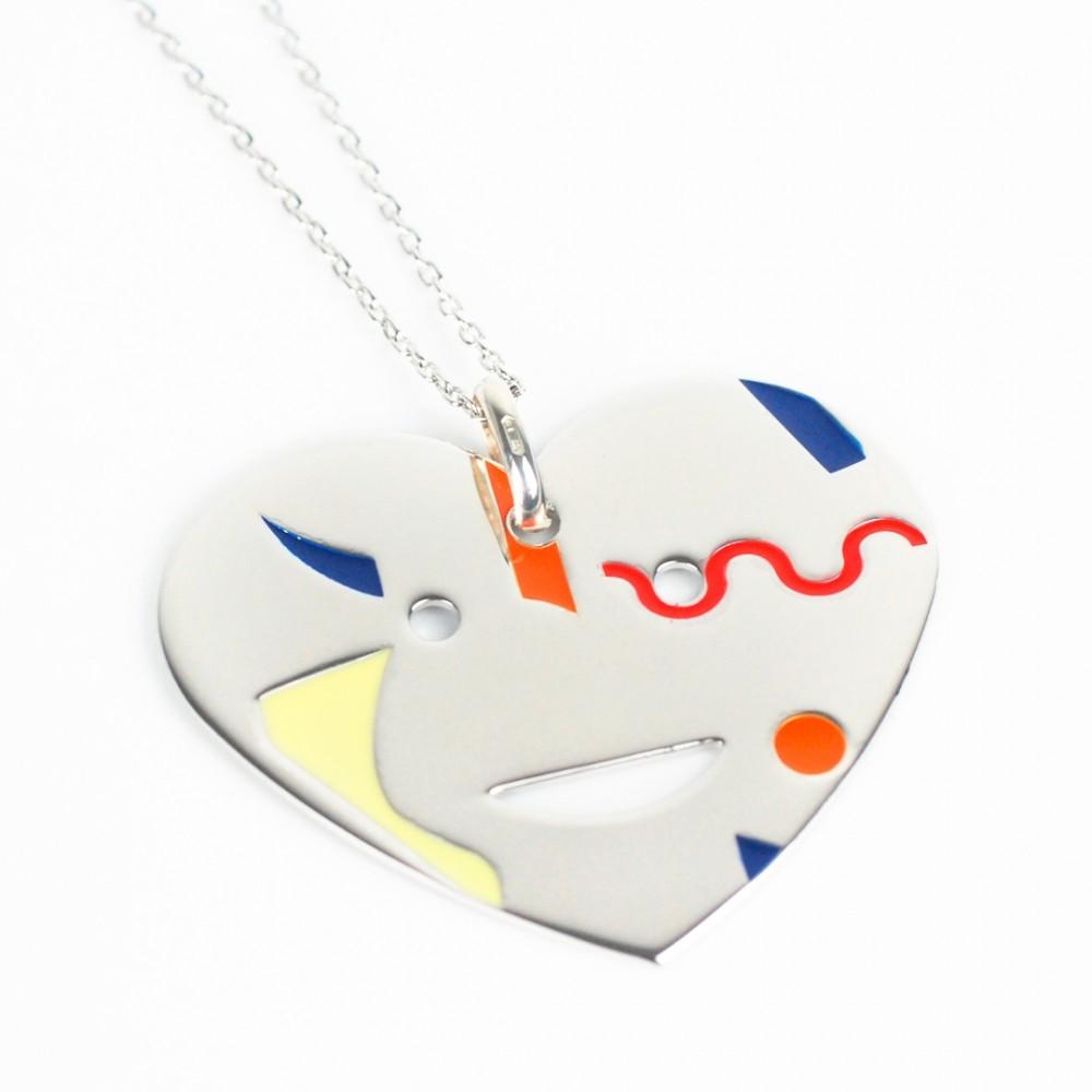 Collana in Argento 925 con pendente a cuore smaltato vari colori