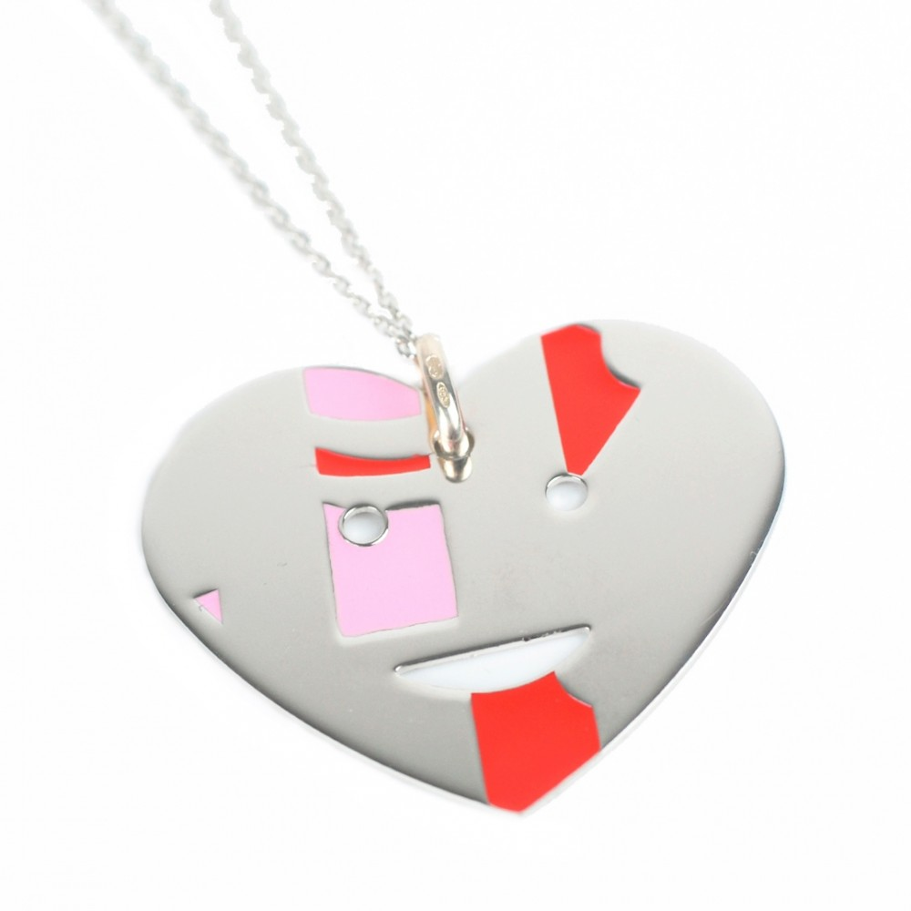 Collana in argento 925 con pendente a cuore smaltato rosso e rosa