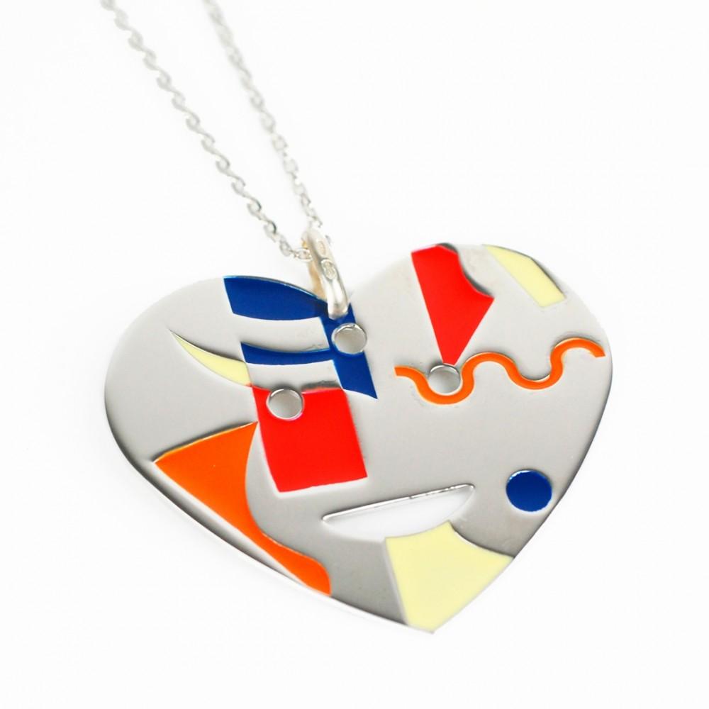 Collana in argento 925 con pendente a cuore smaltato in vari colori